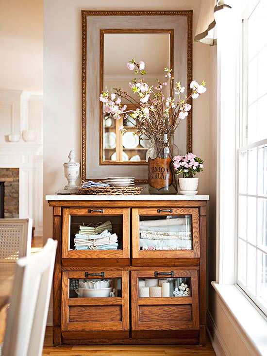 Antique storage pieces for a farmhouse dining room