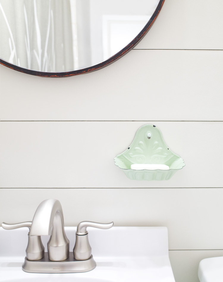 Mint soap holder for a farmhouse style powder room