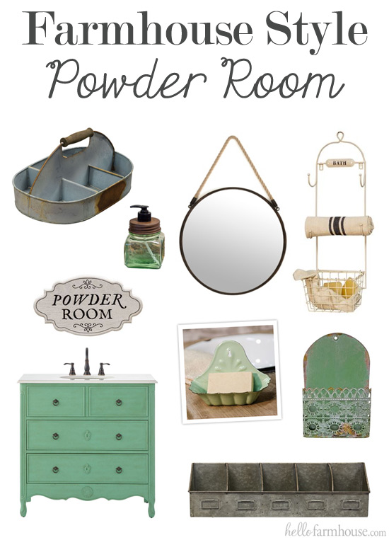 Inspiration for a farmhouse style powder room!