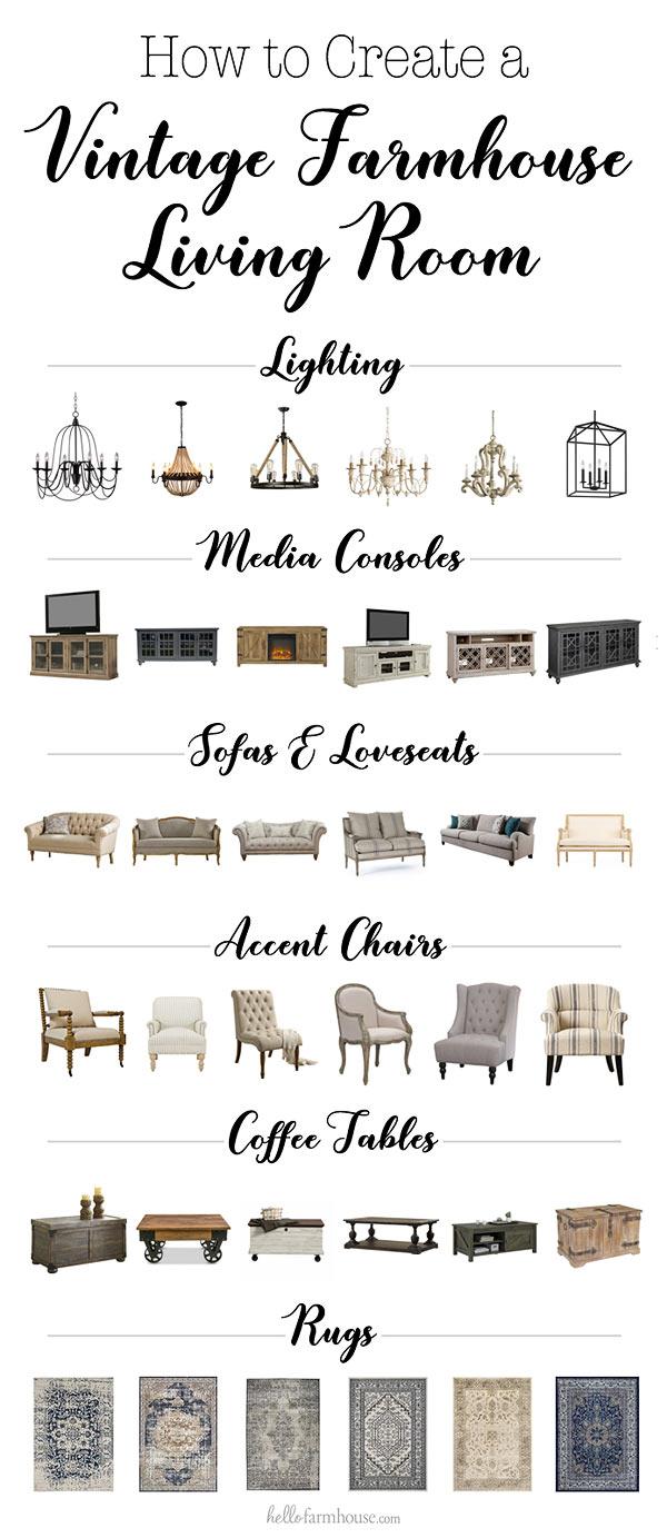 Best pieces for a vintage farmhouse living room
