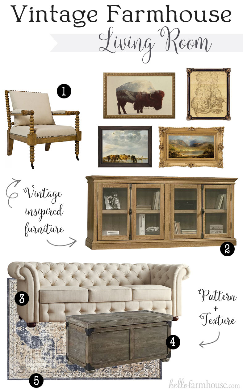Plans for a Vintage Farmhouse Living Room