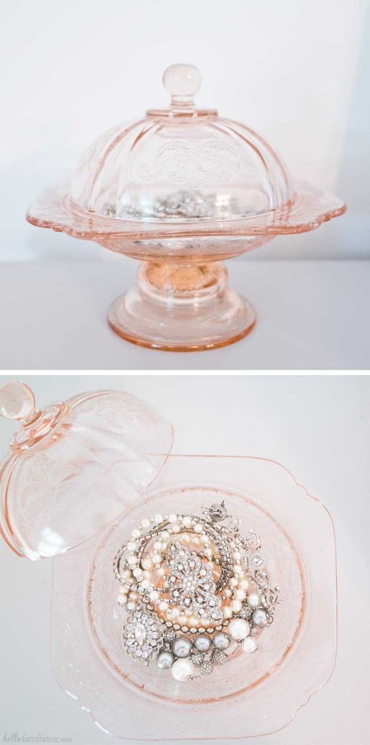 Use a beautiful dish to display your favorite jewelry