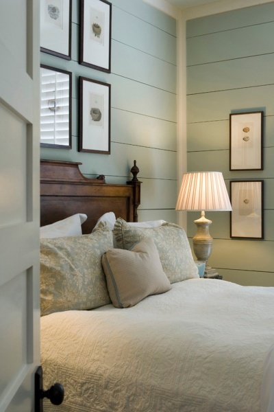 Aqua shiplap bedroom