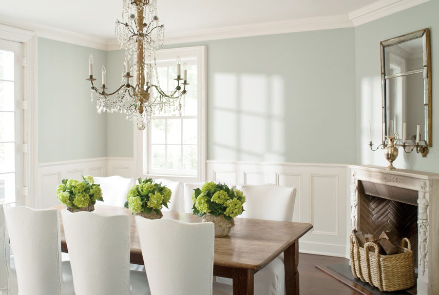 Aqua walls for a vintage farmhouse dining room