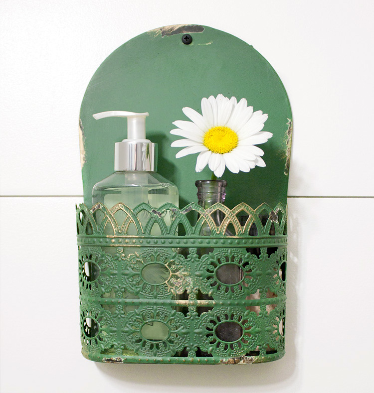 Farmhouse organizer for a farmhouse style powder room