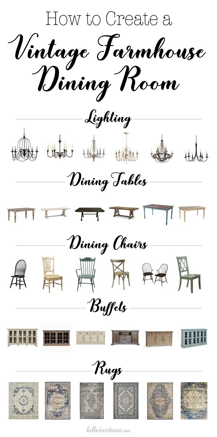 Best furniture for a vintage farmhouse dining room